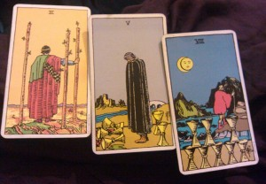 Tarot cards - 3 of Wands, 5 of Cups, 8 of Cups