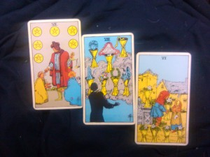 6 of Pentacles, 7 of Cups, 6 of Cups