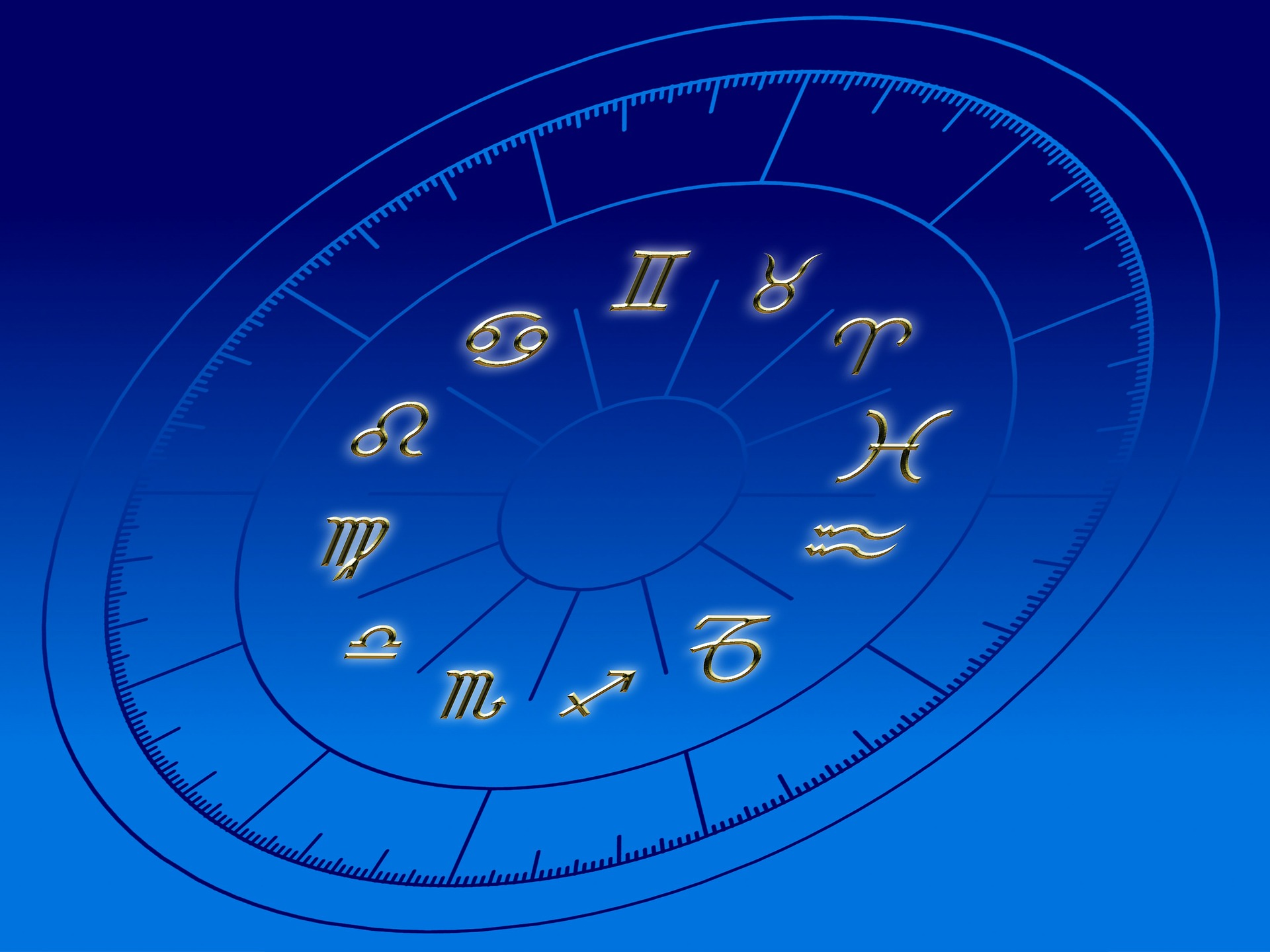 artistic blue Zodiac circle